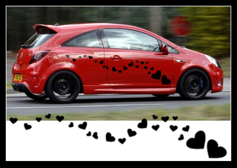 24 large heart shape vinyl car sticker