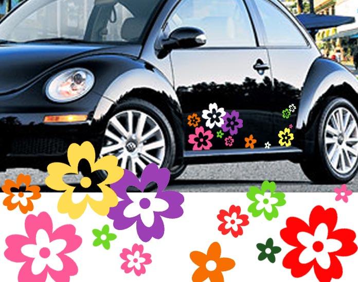 64 Mix Colour Wild Flower Shape Vinyl Car Vehicle Wall